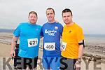 Dean Kavanagh, Brian O'Flynn and Jamie Kent at the Ballyheigue 10k run or half marathon on Saturday