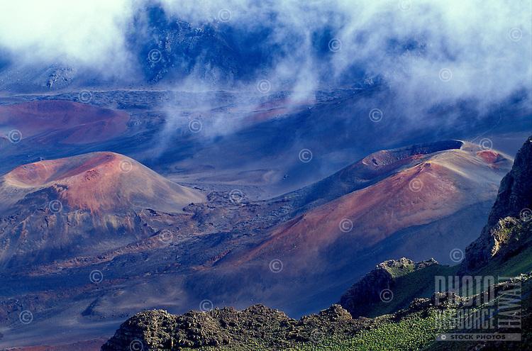 Cinder cone and peak inside the crater of Haleakala National park, Maui