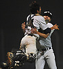 Nick Collins #17, Massapequa pitcher, right, and catcher Andrew Primm #24  celebrate after their team's 4-0 win over Plainview JFK in Game 3 of the Nassau County varsity baseball Class AA final at SUNY Old Westbury on Tuesday, May 30, 2017. Collins pitched a complete game shutout.