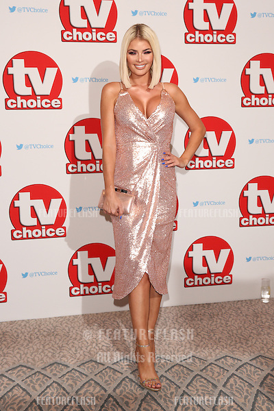 Chloe Sims at The TVChoice Awards 2016 at the Dorchester Hotel, London. <br /> September 5, 2016  London, UK<br /> Picture: James Smith / Featureflash