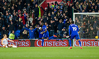 Sol Bamba of Cardiff City celebrates scoring his side's first goal during the Sky Bet Championship match between Cardiff City and Hull City at the Cardiff City Stadium, Cardiff, Wales on 16 December 2017. Photo by Mark  Hawkins / PRiME Media Images.