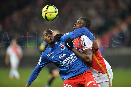 04.03.2016. Caen, France. French League 1 football. Caen versus Monaco.  Elderson ECHIEJILE (mon) tussles with HERVE BAZILE (caen)