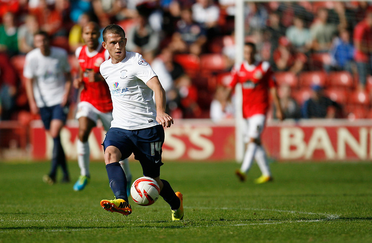 Preston North End's Joe Garner in action during todays match  <br /> <br /> Photo by Jack Phillips/CameraSport<br /> <br /> Football - The Football League Sky Bet League 1 - Walsall v Preston North End - Saturday 31st August 2013 - Banks's Stadium - Walsall<br /> <br /> &copy; CameraSport - 43 Linden Ave. Countesthorpe. Leicester. England. LE8 5PG - Tel: +44 (0) 116 277 4147 - admin@camerasport.com - www.camerasport.com