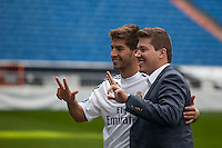 Brazil international soccer player Lucas Silva poses with his brother during his official presentation as a new Real Madrid player at the Santiago Bernabeu stadium in Madrid, Spain. May 26, 2013. (ALTERPHOTOS/Victor Blanco)