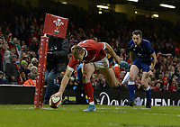 Wales Johnny Mcnicholl scores his sides second try<br /> <br /> Photographer Ian Cook/CameraSport<br /> <br /> 2019 Autumn Internationals - Wales v Barbarians - Saturday 30th November 2019 - Principality Stadium - Cardifff<br /> <br /> World Copyright © 2019 CameraSport. All rights reserved. 43 Linden Ave. Countesthorpe. Leicester. England. LE8 5PG - Tel: +44 (0) 116 277 4147 - admin@camerasport.com - www.camerasport.com