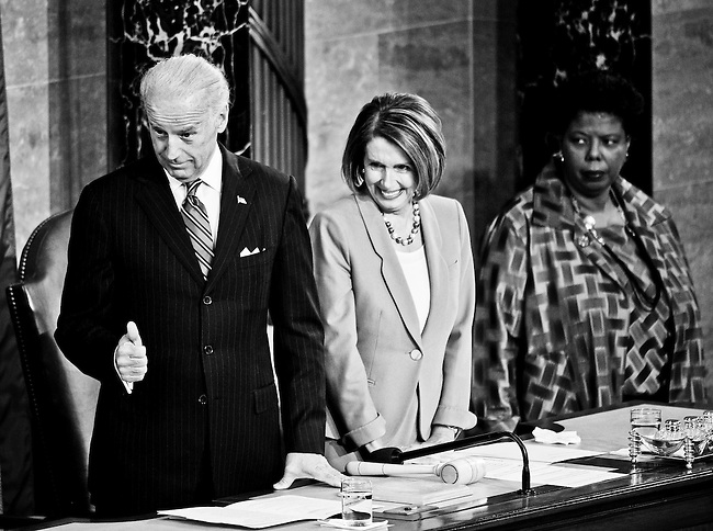 Vice President Joe Biden, Speaker of the House Nancy Pelosi and Lorraine C. Miller, Clerk of the House of Representatives, wait for President Barack Obama to deliver his first State of the Union Address before a joint session of Congress on Jan. 27, 2010.