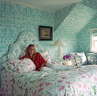 Veronica Beard in the floral master bedroom