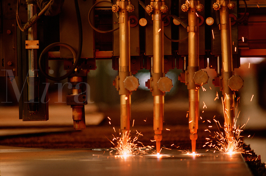 Detail view of computer controlled steel cutters.