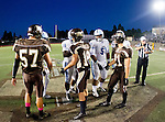 Torrance, CA 10/02/15 - Carson and West Torrance captains meet at midfield for the coin toss before their non-conference game at West Torrance High School in Torrance.