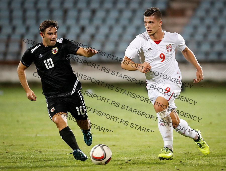 Fudbal Soccer<br /> Reprezentacija Srbije U21<br /> Kvalifikacije za U21 EURO 2019<br /> Srbija U21 v Gibraltar U21<br /> Luka Jovic (R) and Andrew Hernandez<br /> Jagodina, 09.01.2017.<br /> foto: Srdjan Stevanovic/Starsportphoto &copy;
