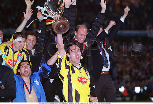 ALESSANDRO NESTA celebrates with the trophy, Real Mallorca 1 v LAZIO 2, UEFA Cup Winners Cup Final, Villa Park, 990519. Photo: Glyn Kirk/Action Plus<br /> <br /> <br /> 1999<br /> football<br /> soccer<br /> trophies<br /> cups<br /> association<br /> club clubs<br /> Celebrations <br /> Joy<br /> celebrate<br /> celebration<br /> celebrating