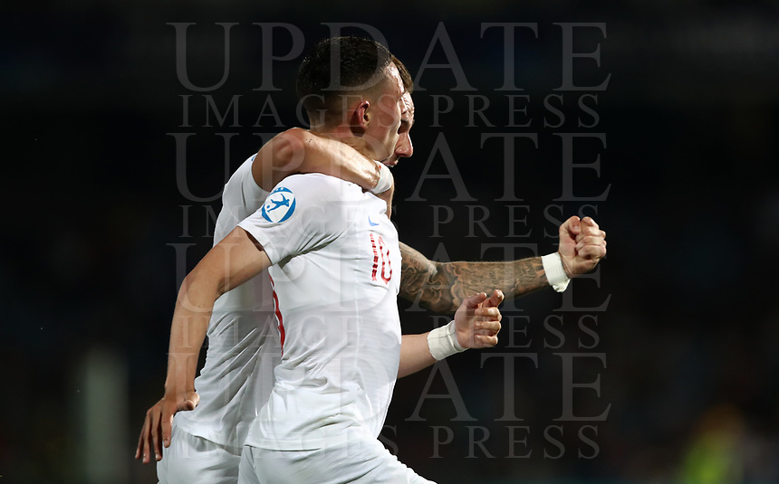 Football: Uefa under 21 Championship 2019, England - France, Dino Manuzzi stadium Cesena Italy on June18, 2019.<br /> England's Phil Foden (r) celebrates after scoring with his teammate James Maddison (l) during the Uefa under 21 Championship 2019 football match between England and France at Dino Manuzzi stadium in Cesena, Italy on June18, 2019.<br /> UPDATE IMAGES PRESS/Isabella Bonotto