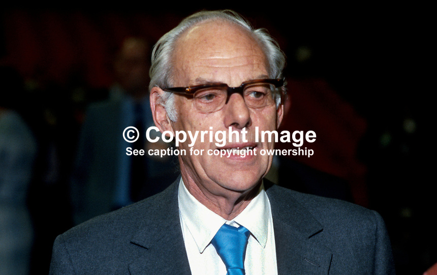 Denis Thatcher, husband, Margaret Thatcher, Prime Minister, UK, annual conference, Conservative Party, Brighton, October, 1984, following Provisional IRA bomb in the Grand Hotel, where the majority of Conservative Party VIPs were staying. 19840142DT1.<br />