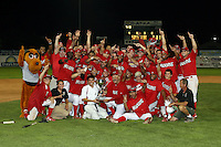 September 15 2008:  The Batavia Muckdogs, Class-A affiliate of the St. Louis Cardinals, celebrate winning the NY-Penn League championship after a game at Dwyer Stadium in Batavia, NY.  Photo by:  Mike Janes/Four Seam Images