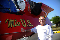 "Larry Lauterbach and the boat his father built. U-36 ""Miss U. S."" (1956 Lauterbach Unlimited Hydroplane)"