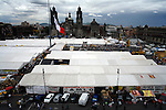 MEXICO DF. SEPTEMBER 2006. SUPPORTERS OF LEFTIST PRESIDENTIAL CANDIDATE ANDRES MANUEL LOPEZ OBRADOR OCCUPE SINCE LAST AUGUST THE STREETS OF HISTORICAL CENTRE OF MEXICO CITY ALLEGATING FRAUD IN THE LAST PRESIDENTIAL ELECTIONS. HERE, THE CONSTITUTION SQUARE (ZOCALO).