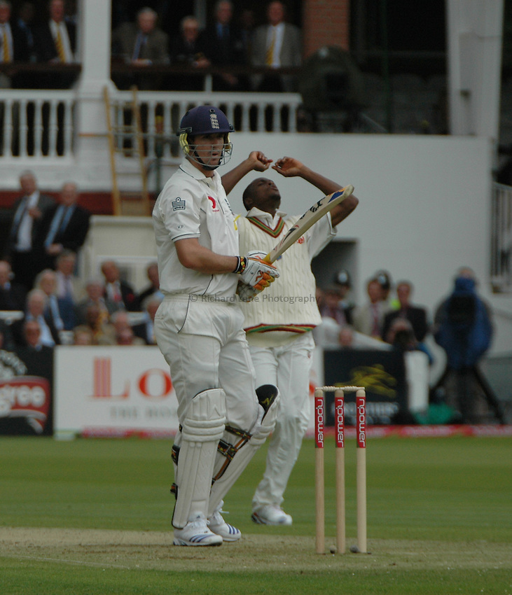 Photo: Tony Oudot..England v West Indies. 1st Test npower Test Match Series.17/05/2007..Daren Powell of West Indies is dejected after an appeal was turned down for a catch off Kevin Pietersen of England