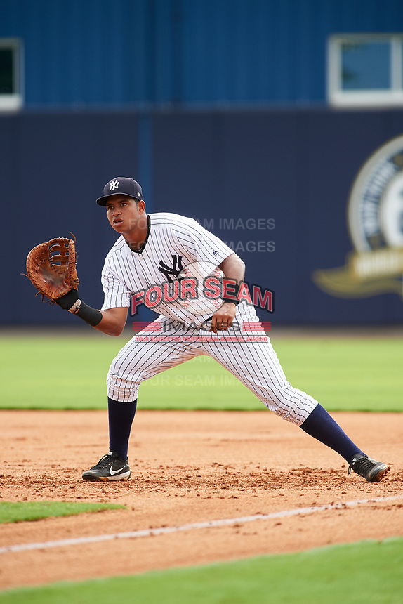 GCL Yankees East first baseman Nelson Alvarez (59) during the first game of a doubleheader against the GCL Yankees West on July 19, 2017 at the Yankees Minor League Complex in Tampa, Florida.  GCL Yankees West defeated the GCL Yankees East 11-2.  (Mike Janes/Four Seam Images)
