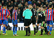 9th December 2017, Selhurst Park, London, England; EPL Premier League football, Crystal Palace versus Bournemouth; Wilfried Zaha of Crystal Palace reacts towards Referee Kevin Friend and Lewis Cook of Bournemouth after Cook brought him down during a Palace attack
