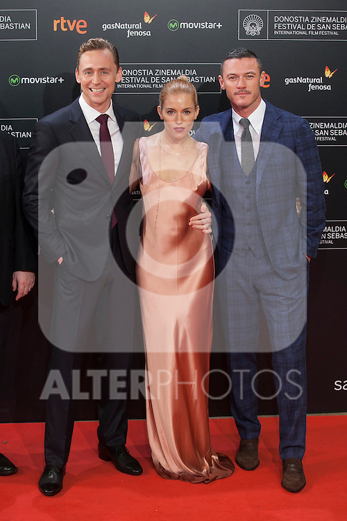 Actors Luke Evans, Sienna Miller and Tom Hiddleston arrive to `High Rise´ film premiere during 63rd Donostia Zinemaldia (San Sebastian International Film Festival) in San Sebastian, Spain. September 22, 2015. (ALTERPHOTOS/Victor Blanco)