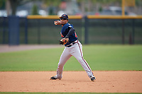 Atlanta Braves Luis Mejia (23) during practice before a Minor League Spring Training game against the New York Yankees on March 12, 2019 at New York Yankees Minor League Complex in Tampa, Florida.  (Mike Janes/Four Seam Images)