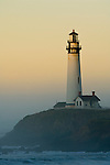 Pigeon Point Lighthouse at sunrise, San Mateo County coast, California