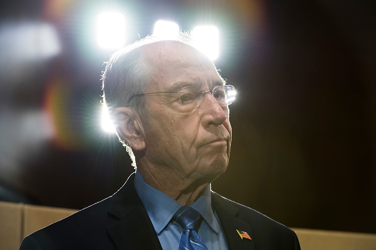 UNITED STATES - AUGUST 02: Senate Judiciary Committee Chairman Charles Grassley, R-Iowa, conducts a news conference in Dirksen Building on August 2, 2018, with boxes representing roughly 1 million pages of documents to be submitted to the committee on Supreme Court nominee Brett Kavanaugh. (Photo By Tom Williams/CQ Roll Call)