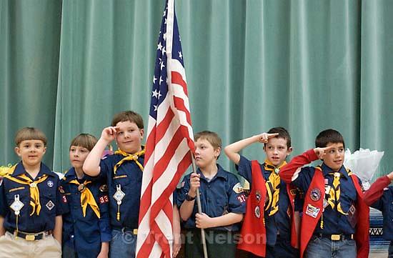 Noah Nelson boy scout flag ceremony. Cameron Bettolo, Davis Pratt<br />