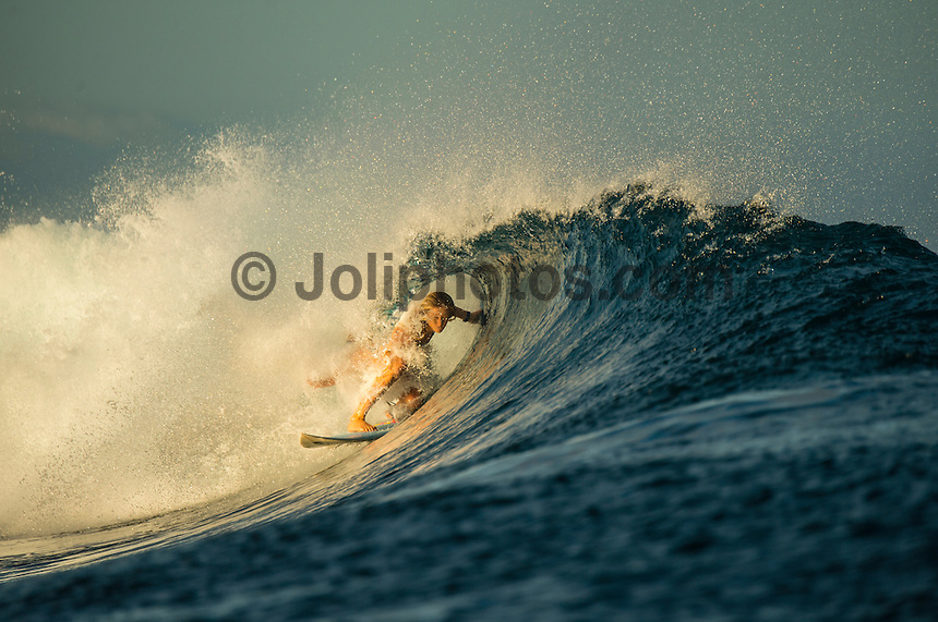 Namotu Island Resort/Fiji (Wednesday, September 11, 2013) -Bianca Buitendag (ZAF).  The swell was in the 4'-6' range with Cloudbreak being the prime spot.  Namotu Lefts and Wilkies also had clean waves today.  Photo: joliphotos.com