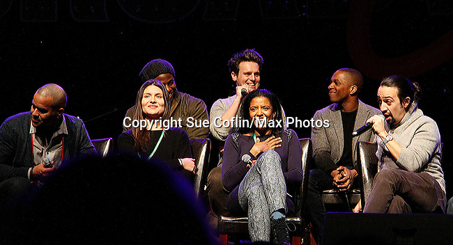 "One Life To Live Renee Elise Goldsberry who stars in Broadway's ""Hamilton - The Musical"" with Lin-Manuel Miranda (2nd R) and cast Chris Jackson, Phillipa Soo, Okieriete Onadawan, Jonathan Groff, Leslie Odom, Jr., Daved Diggs (R) - all attending the first ever 3-day Broadway Con on January 22 - 24, 2016 at the Hilton Hotel, New York City, New York.  (Photo by Sue Coflin/Max Photos)"