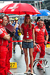 KUALA LUMPUR, MALAYSIA - OCTOBER 25: Casey Stoner's wife Adriana Tuchyna wait for her husband at the grid before the start of the Malaysian MotoGP, which is round 16 of the MotoGP World Championship at the Sepang Circuit on October 25, 2009 in Kuala Lumpur, Malaysia. Photo by Victor Fraile / The Power of Sport Images