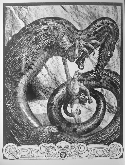 Siegfried slaying the dragon with his sword, illustration from the myth of Siegfried by Ludwig Schroeter, engraving c. 1880. Copyright © Collection Particuliere Tropmi / Manuel Cohen