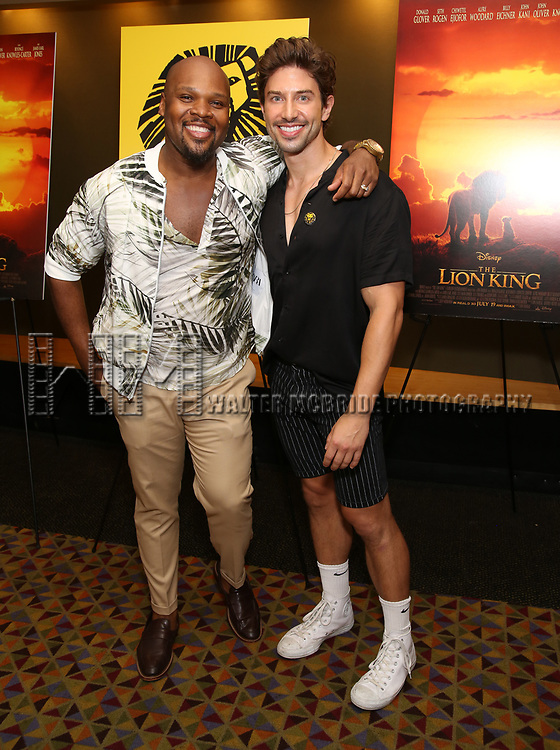 "Michael James Scott and Nick Adams attends the Broadway screening of the Motion Picture Release of ""The Lion King"" at AMC Empire 25 on July 15, 2019 in New York City."