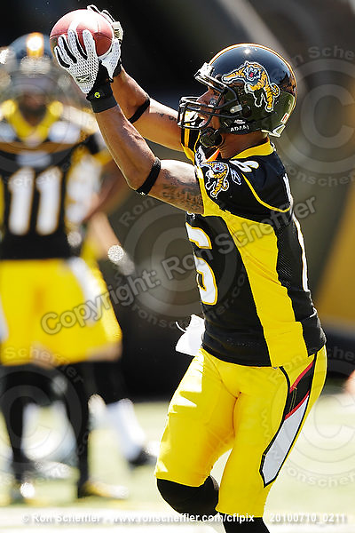 July 10, 2010; Hamilton, ON, CAN; Hamilton Tiger-Cats wide receiver Marquay McDaniel (6). CFL football: Calgary Stampeders vs. Hamilton Tiger-Cats at Ivor Wynne Stadium. The Tiger-Cats lost against the Stampeders 23-22. Mandatory Credit: Ron Scheffler. Copyright (c) 2010 Ron Scheffler.