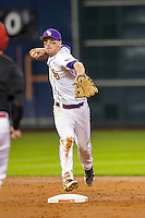 LSU Tigers shortstop Alex Bregman (8) turns a double play during the NCAA baseball game against the Houston Cougars on March 6, 2015 at Minute Maid Park in Houston, Texas. LSU defeated Houston 4-2. (Andrew Woolley/Four Seam Images)