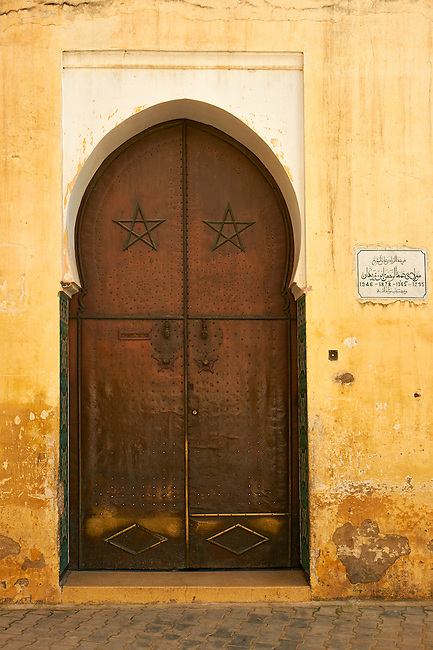 Moorish Arabesque doorway of the Medina. A UNESCO World Heritage Site .Meknes, Meknes-Tafilalet, Morocco.