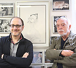 Lonny Price visits Hal Prince in his office on July 30, 2015 in New York City.