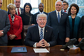 US President Donald J. Trump (C) delivers brief remarks before signing an executive order entitled, 'Comprehensive Plan for Reorganizing the Executive Branch', beside members of his Cabinet in the Oval Office of the White House in Washington, DC, USA, 13 March 2017.<br /> Credit: Michael Reynolds / Pool via CNP
