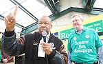 BehnkesCP012209b_RGB/Raphael Talisman/The Gazette-Star/011809. Congressman Elijah Cummings (D-Dist. 7) of Maryland speaks next to State Sen. Jim Rosapepe (D-Dist. 21), during the Beltsville Barack Obama Celebration at Behnke's Nurseries..