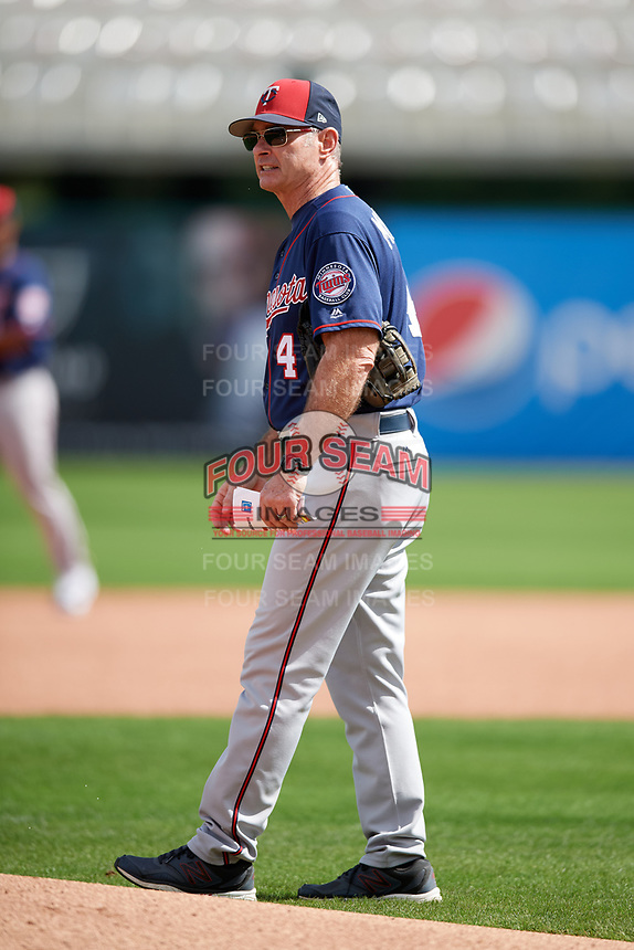 Minnesota Twins manager Paul Molitor (4) during a Spring Training practice on February 21, 2018 at Hammond Stadium at CenturyLink Sports Complex in Fort Myers, Florida.  (Mike Janes/Four Seam Images)