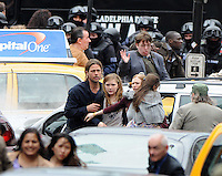 "Brad Pitt on set during the filming of his movie "" World War Z""  where Glasgow has been turned into Philadelphia.. ."
