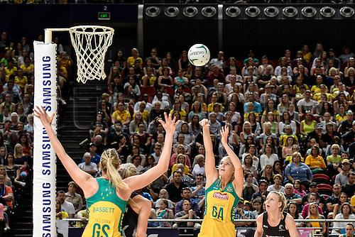09.10.2016. Qudos Bank Arena, Sydney, Australia. Constellation Cup Netball. Australia Diamonds versus New Zealand Silver Ferns. Australias Caitlin Bassett scores. The Diamonds won the game 68-56.