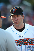 Inland Empire 66ers Manager Chad Tracy (28) before a game against the San Jose Giants at San Manuel Stadium on April 8, 2017 in San Bernardino, California. (Larry Goren/Four Seam Images)