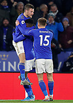 Jamie Vardy of Leicester City celebrates his goal against Everton with Kelechi Iheanacho and Harvey Barnes during the Premier League match at the King Power Stadium, Leicester. Picture date: 1st December 2019. Picture credit should read: Darren Staples/Sportimage