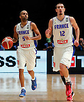 France's Nando De Colo (R) and Tony Parker (L) during European championship basketball match for third place between France and Serbia on September 20, 2015 in Lille, France  (credit image & photo: Pedja Milosavljevic / STARSPORT)