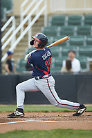 Greg Cullen (18) of the Rome Braves follows through on his swing against the Kannapolis Intimidators at Kannapolis Intimidators Stadium on April 7, 2019 in Kannapolis, North Carolina. The Intimidators defeated the Braves 2-1. (Brian Westerholt/Four Seam Images)