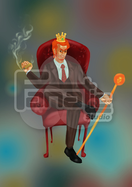 Illustrative image of businessman with stick and cigar sitting on chair representing business leader
