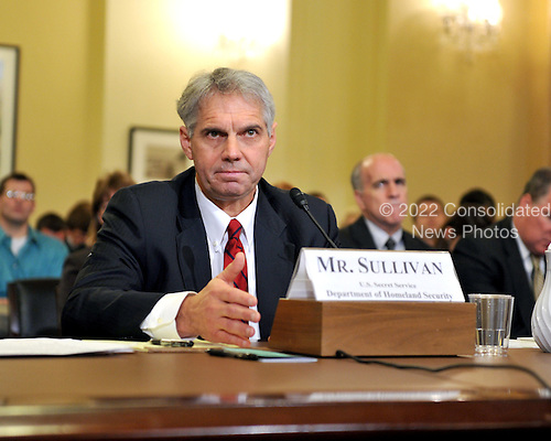 """Washington, D.C. - December 3, 2009 -- Mark J. Sullivan, Director, United States Secret Service, Department of Homeland Security testifies before the U.S. House Homeland Security Committee in Washington, D.C. on Thursday, December 3, 2009.  The theme of the hearing was """"The U.S. Secret Service and Presidential Protection: An Examination of a System Failure"""".  The committee heard Sullivan's testimony concerning the security lapse at the White House that allowed Tariq and Michaele Salahi to attend the State Dinner in honor of Prime Minister Singh of India without having been invited.  .Credit: Ron Sachs / CNP.(RESTRICTION: NO New York or New Jersey Newspapers or newspapers within a 75 mile radius of New York City)"""
