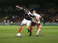 Liam Kelly under pressure from Billy Bernard in the Scotland v Luxembourg UEFA Under 21 international qualifying match at St Mirren Park, Paisley on 6.9.12.