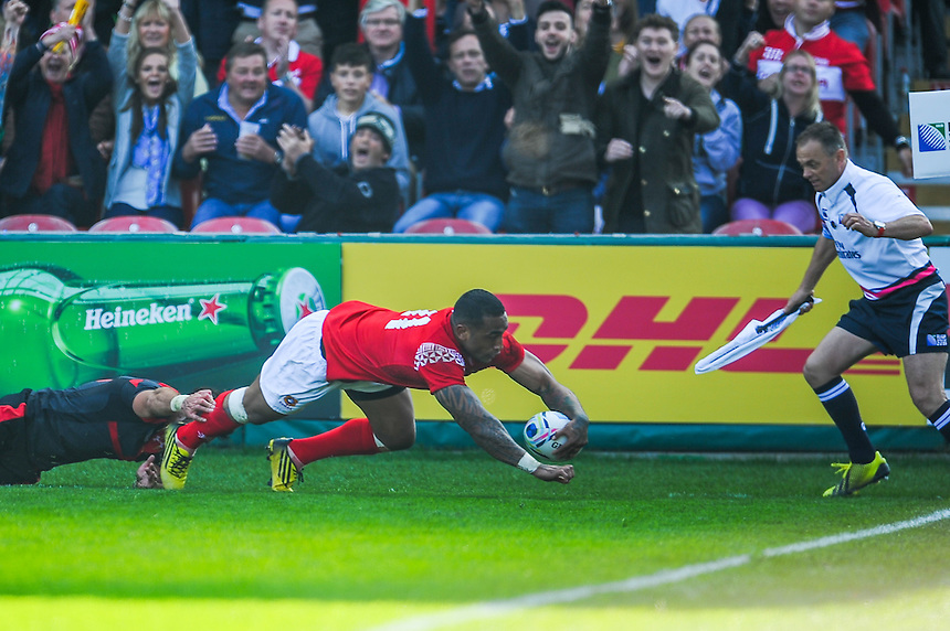 Tonga's Fetu'u Vainikolo scores his sides first try<br /> <br /> Photographer Craig Thomas/CameraSport<br /> <br /> Rugby Union - 2015 Rugby World Cup - 12;00  Georgia v Tonga - Saturday 19th September 2015 - Kingsholm - Gloucester <br /> <br /> &copy; CameraSport - 43 Linden Ave. Countesthorpe. Leicester. England. LE8 5PG - Tel: +44 (0) 116 277 4147 - admin@camerasport.com - www.camerasport.com